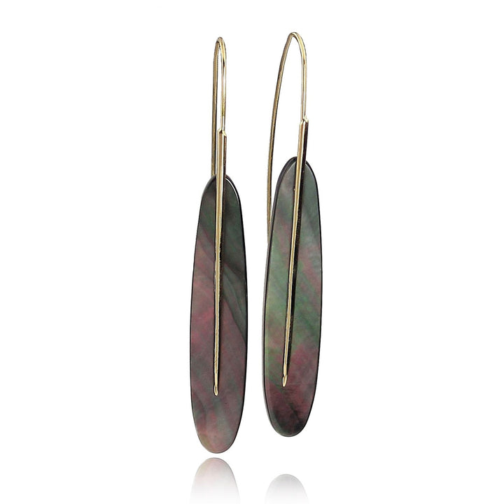 Large Black Mother of Pearl Feather Earrings