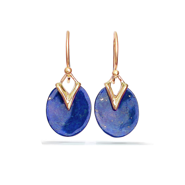 Tiny Lily Pad Earrings with Lapis Lazuli