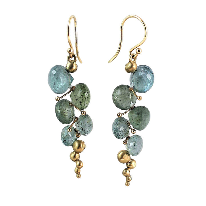 "Moss Aquamarine ""Small Caviar"" Earrings"