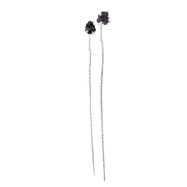 Prong-set raw black diamond and white gold chain threader earrings