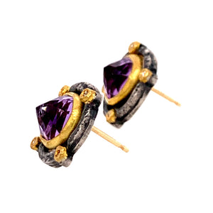 Inverted Amethyst Stud Earrings with Diamond Accents