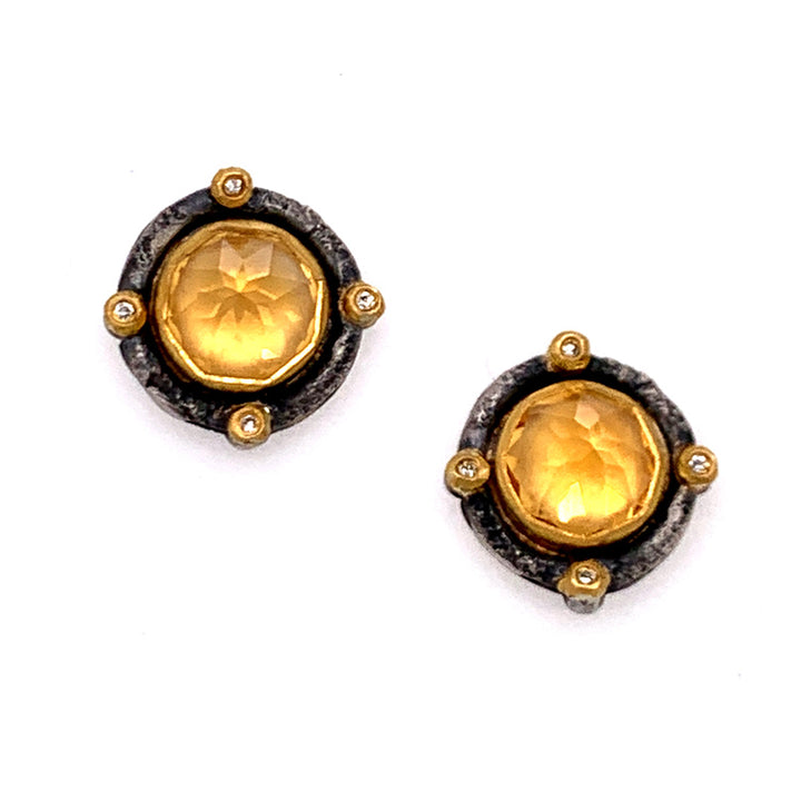 """Romanesque"" Inverted Citrine Stud Earrings"