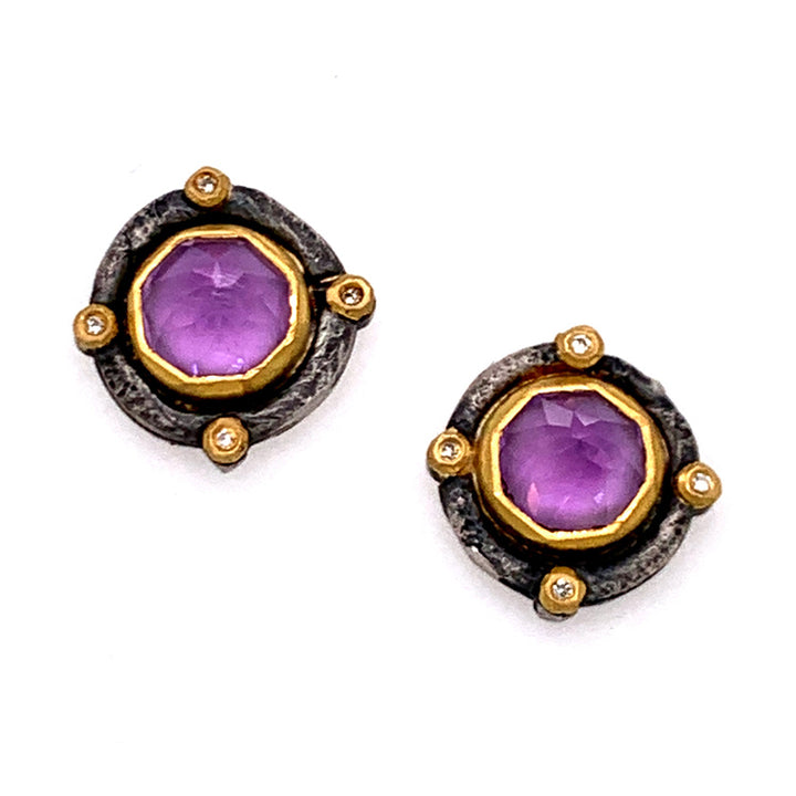Inverted Amethyst Stud Earrings