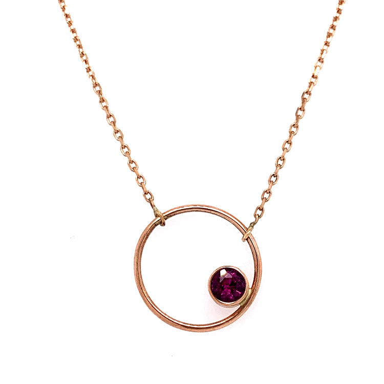 "Dark Pink Montana Sapphire ""Circle"" Necklace in Rose Gold"
