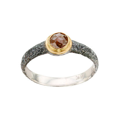 Brown Rose-Cut Diamond Solitaire Ring