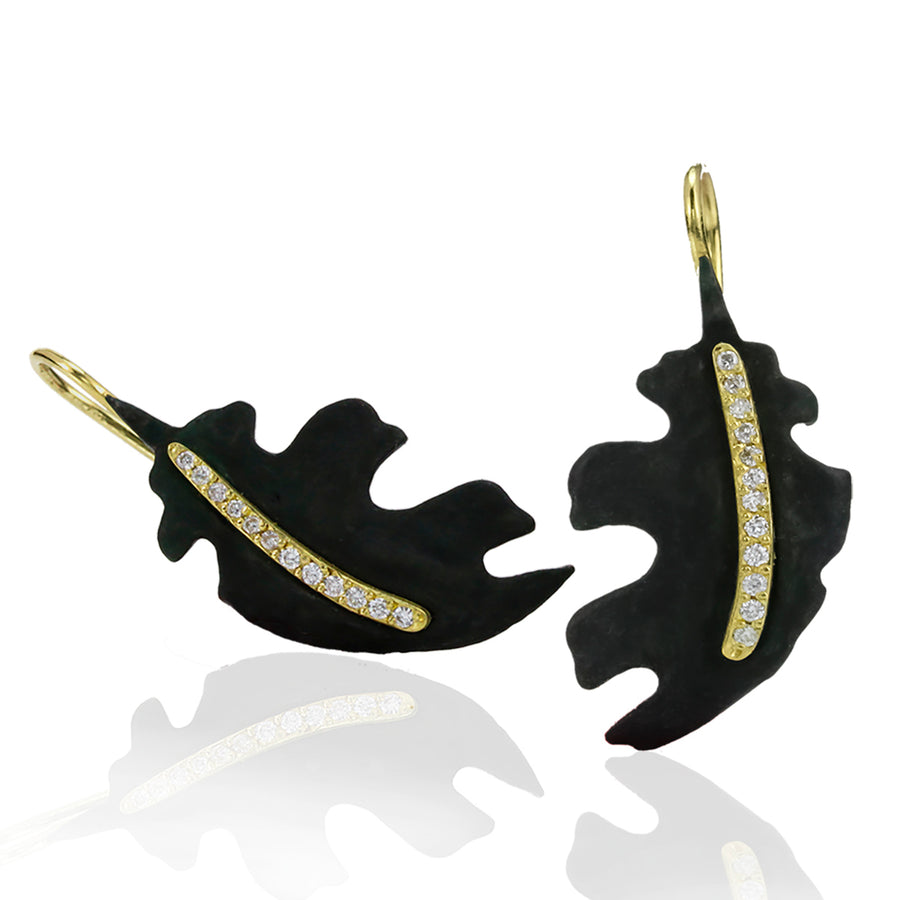 Sarah Graham Cobalt Chrome and Gold Oak Leaf Earrings