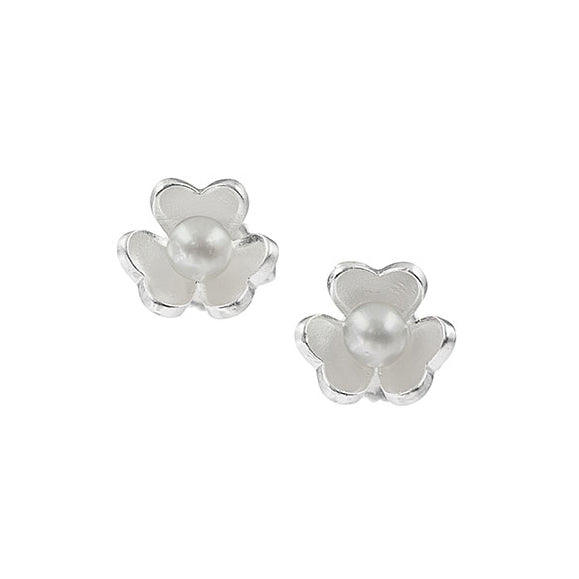 Sema Sezen Three-Leaf Clover and Pearl Stud Earrings