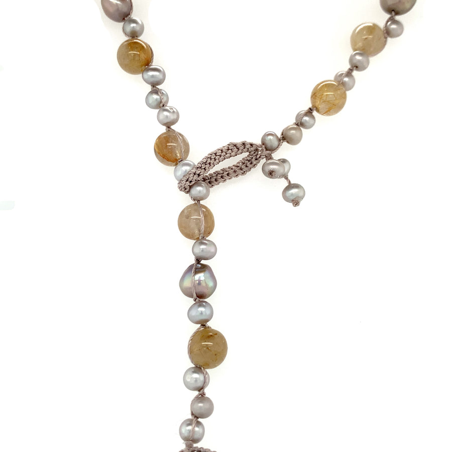 "18"" necklace grey freshwater pearls, rutilated quartz beads crocheted on silk, drop is Edison pearl"