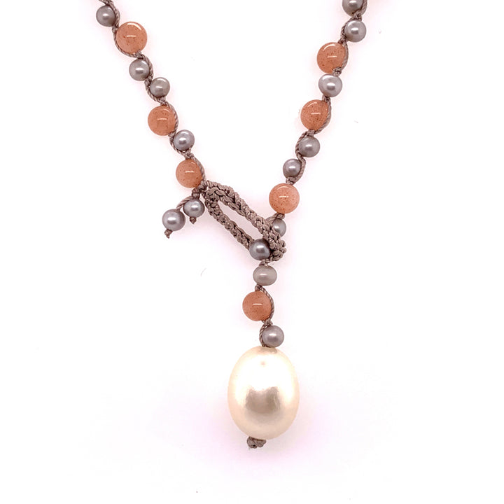 """Sandhill"" Sunstone & Pearl Necklace"