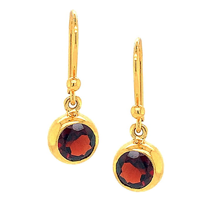 Round Garnet Earrings