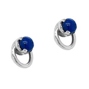 Sterling Silver Lapis Circle Studs