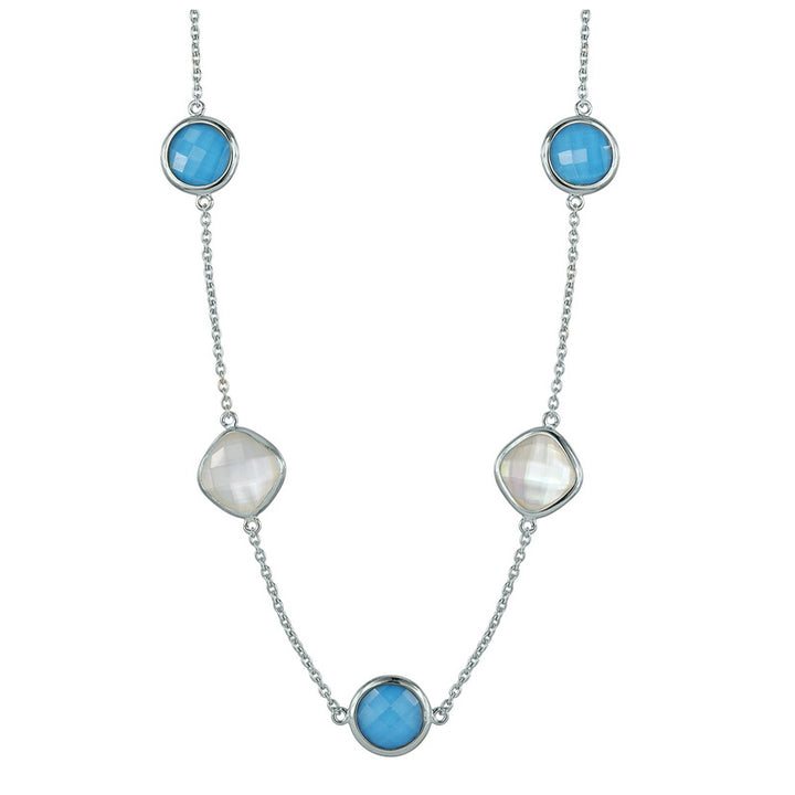 Stephen Estelle Turquoise Doublet and Moonstone Necklace