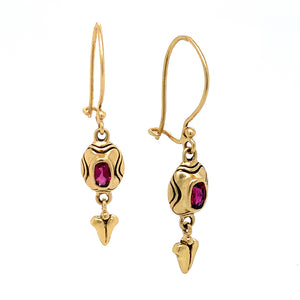 Vibrant pink tourmaline earrings, set in rich 18 karat yellow gold, Tourmaline gem: 5x3mm.