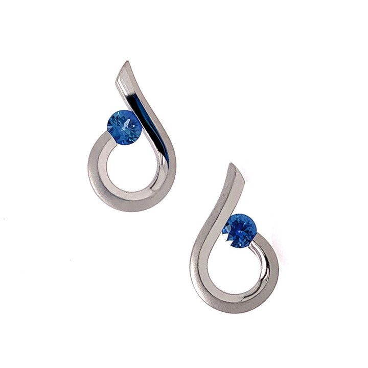 Raindrop Yogo Sapphire Tension-Set Earrings