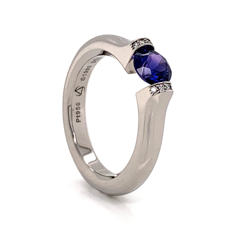 Yogo Sapphire and Diamond Tension-Set Omega Round Ring