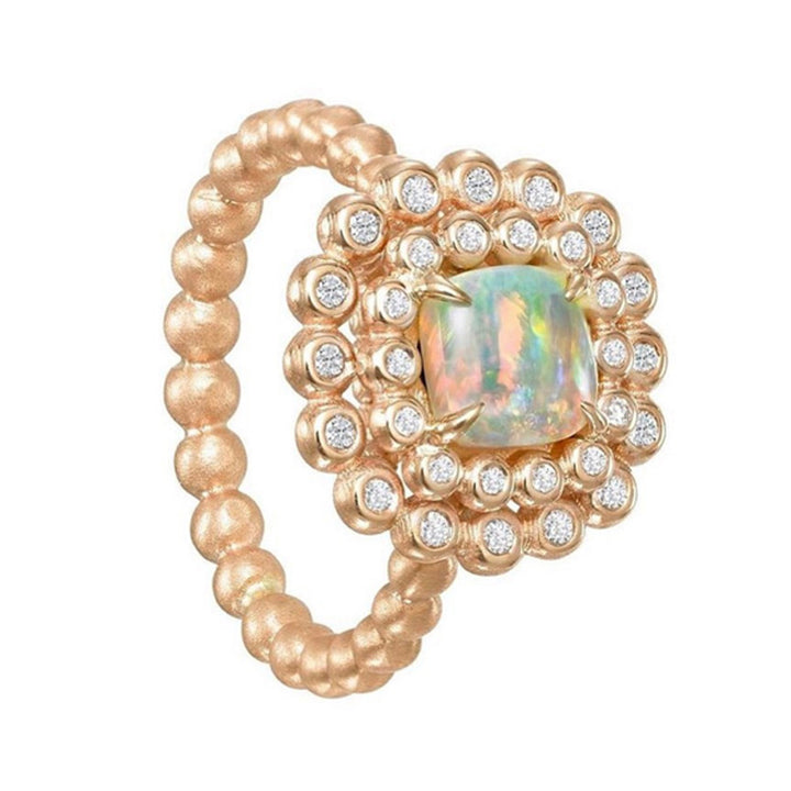 Suzy Landa Opal and Diamond Rose Gold Ring