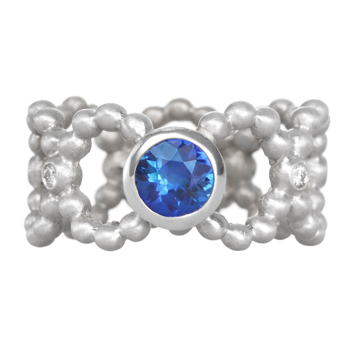 Suzy Landa Montana Yogo Sapphire and Diamond Beaded Ring