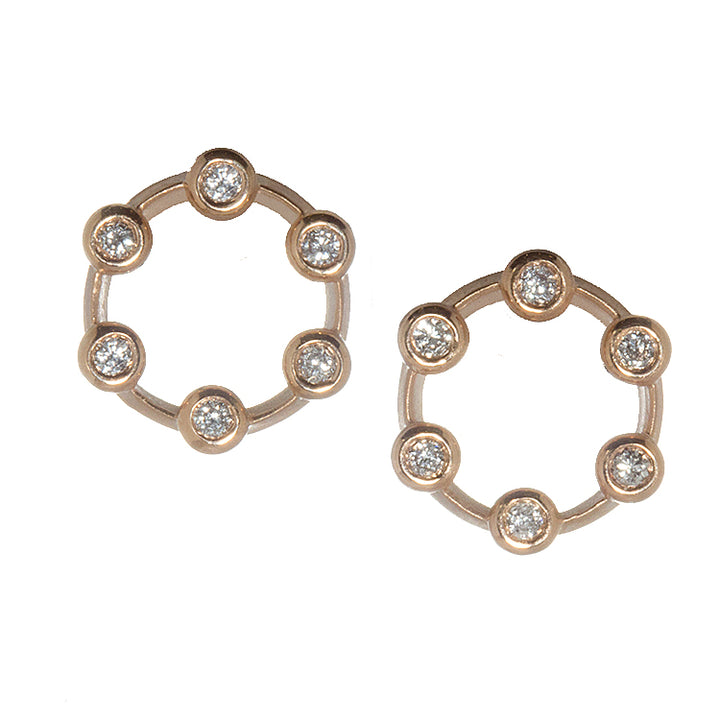 Suzy Landa Rose Gold and Diamond Mini Circle Earrings