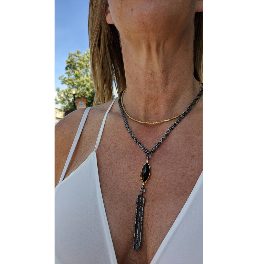 """Talentum"" Onyx & Diamond Drop Necklace"