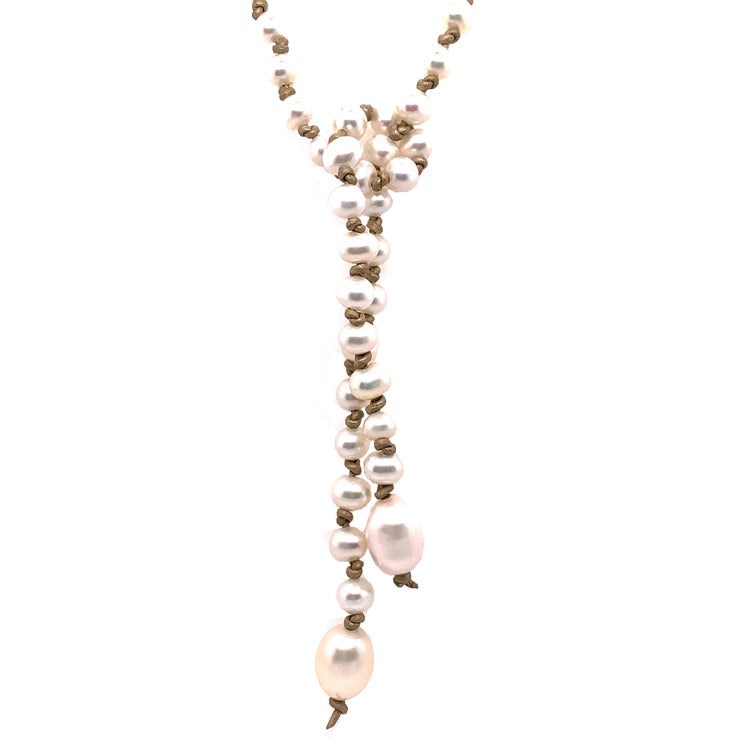 """Contemporary Cowgirl"" Pearl and Leather Lariat"