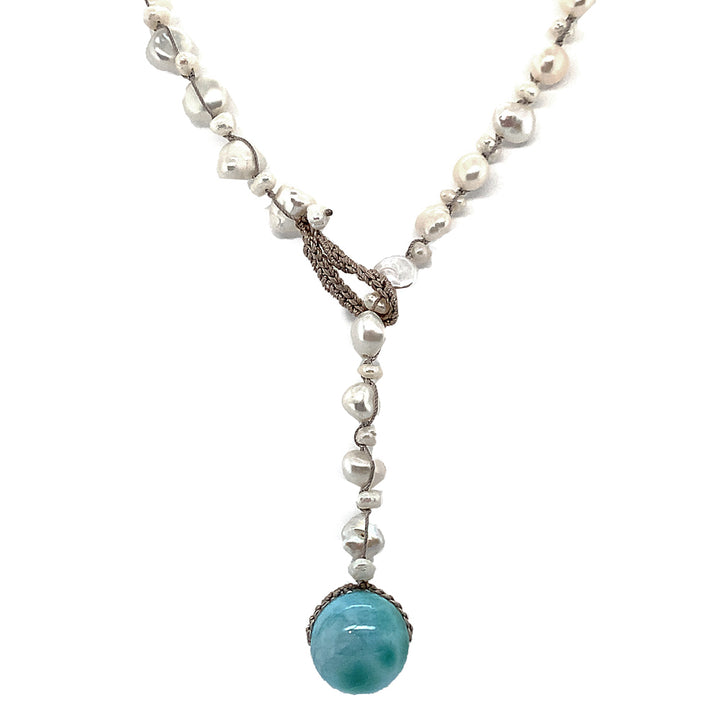 "18"" necklace freshwater Keshi pearls crocheted on silk, drop is  13mm Larimar."