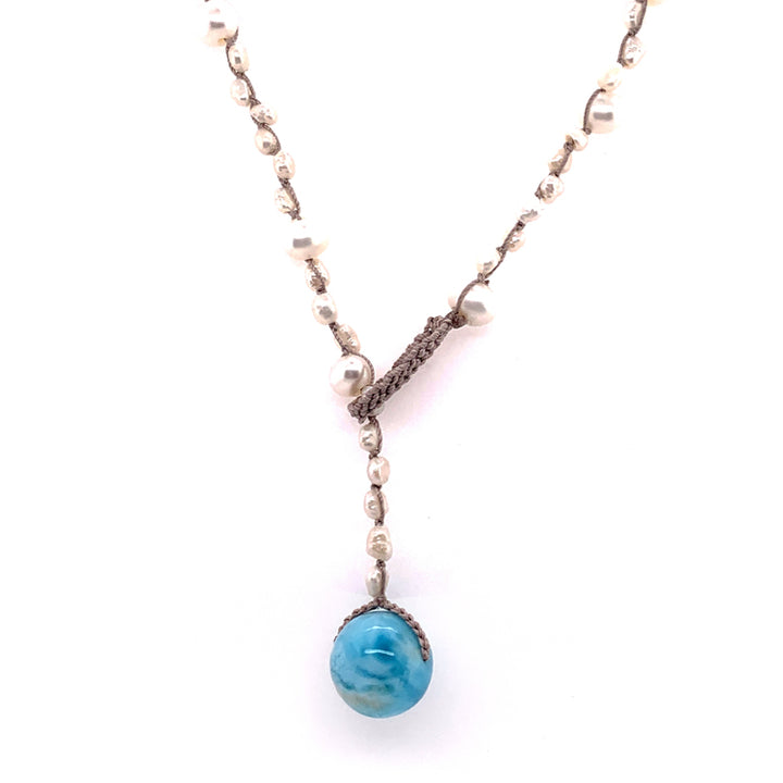 """Aphrodite"" Larimar & Pearl Necklace"
