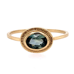 Teal Oval Montana Sapphire Ring in Yellow Gold