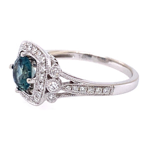 Vintage Inspired Montana Sapphire & Diamond Halo Ring