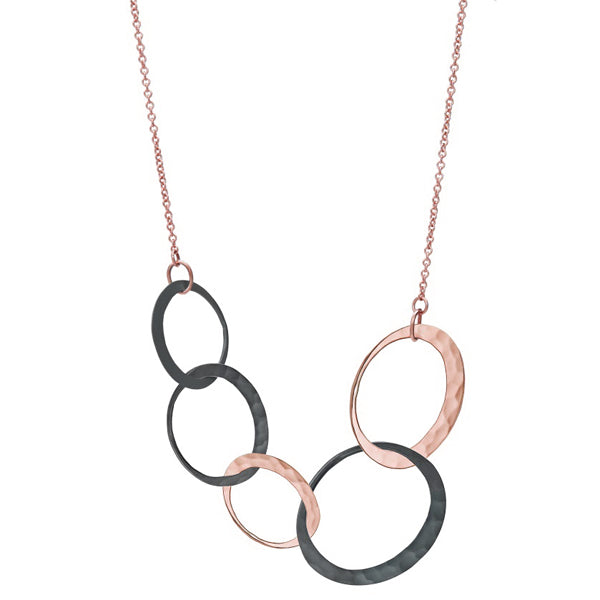 Toby Pomeroy EcoGold five-link eclipse necklace in rose gold and silver