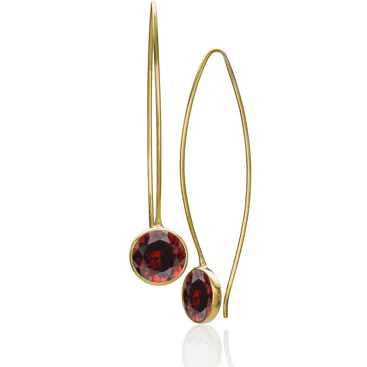 EcoGold fairtrade garnet gem drop earrings
