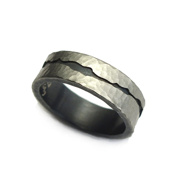 Palladium and Oxidized Sterling Fissure Band by Todd Pownell