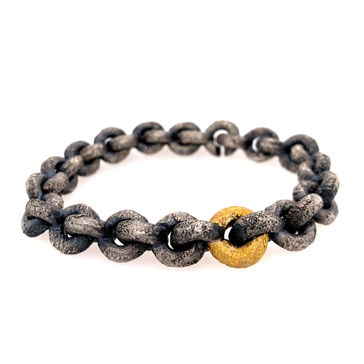 """Vetus"" Heavy Link Silver Bracelet with Gold Sleeve Accent"