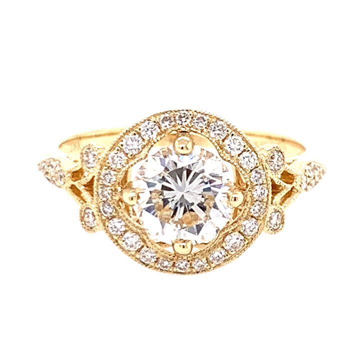 Vintage Inspired Yellow Gold and Diamond Halo Ring