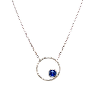 "Yogo Sapphire ""Circle"" Necklace in White Gold"
