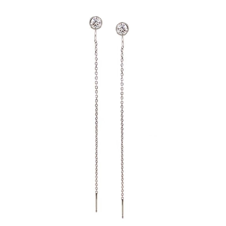 Diamond and white gold chain threader earrings