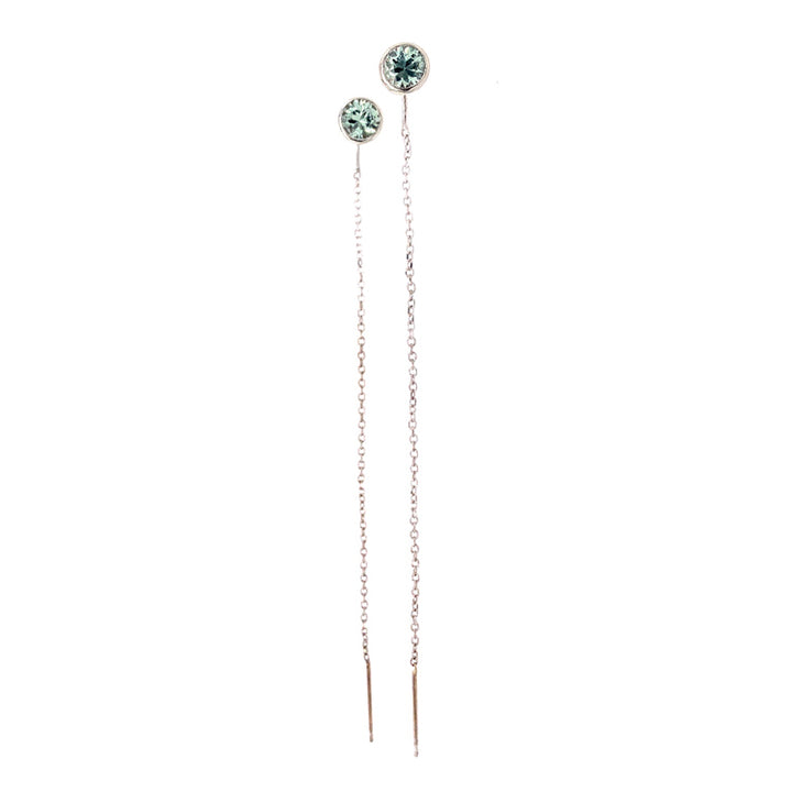 Green Montana sapphire and white gold chain threader earrings