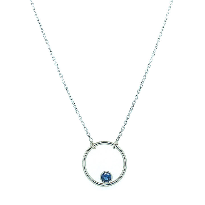 "Lovely Yogo Sapphire ""Circle"" Necklace"