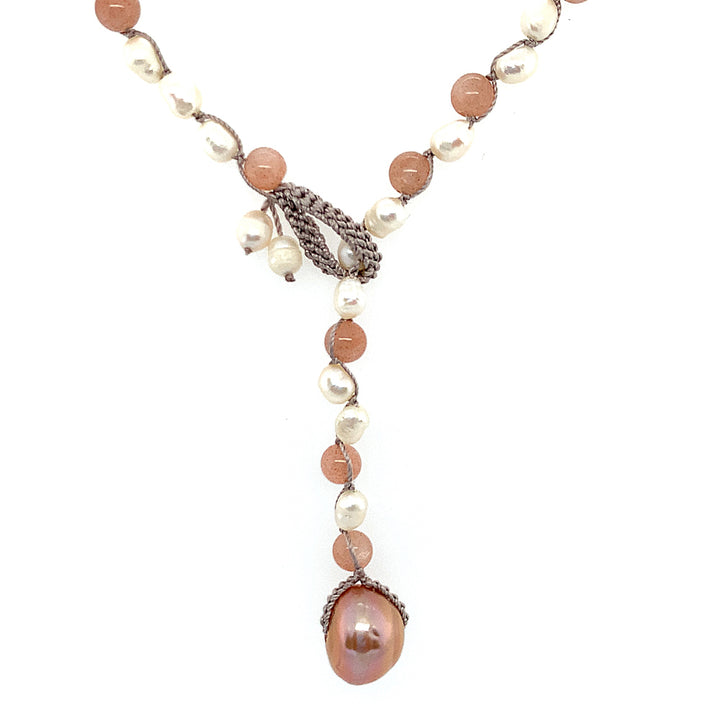 "•	18"" necklace: 4.5-5.5mm white nugget freshwater pearls, 5.5mm sunstones, pearls crocheted on silk, drop is pink freshwater pearl."