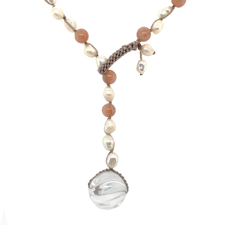 "•	18"" necklace: 4.5-5.5mm white nugget freshwater pearls, 5.5mm sunstones, pearls crocheted on silk, 14mm fluted rock crystal."