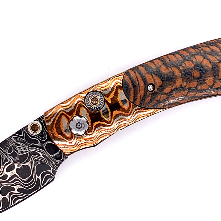 Wave Mokume Gane and Smoky Quartz Detail On William Henry Knife
