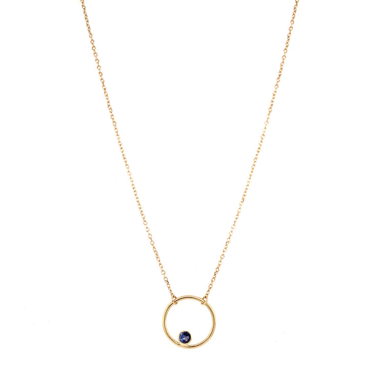"Yogo Sapphire ""Circle"" Necklace in Yellow Gold"