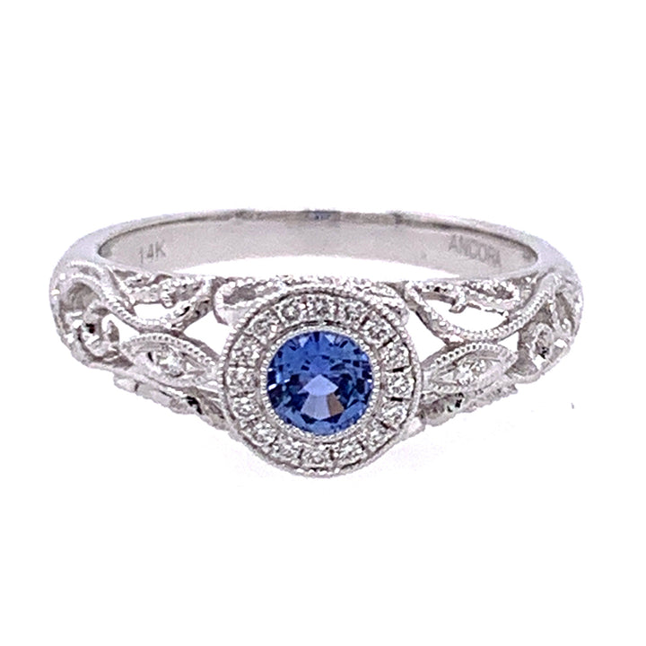 Yogo Sapphire Nature Inspired Ring with Diamond Halo