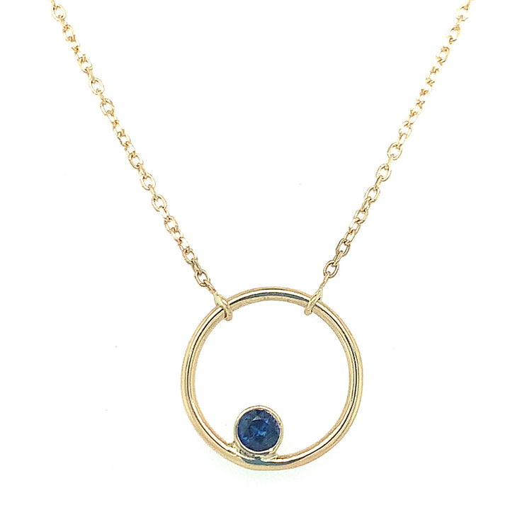 "Yellow Gold Yogo Sapphire ""Circle"" Necklace"