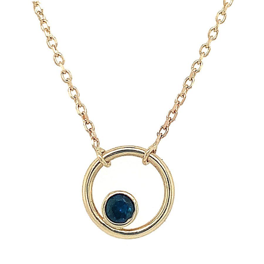 """Circle"" Necklace Featuring a Yogo Sapphire"