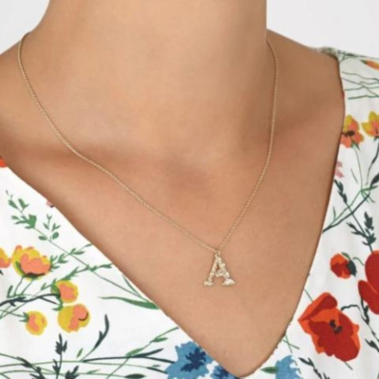 "Floral Alphabet  'A"" Necklace by Alex Monroe"