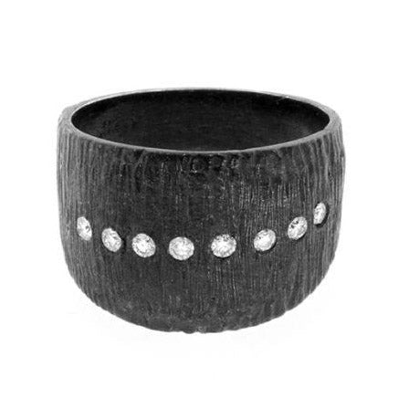 Anit Dodhia Oxidized Sterling Silver Cigar Band With White Diamonds