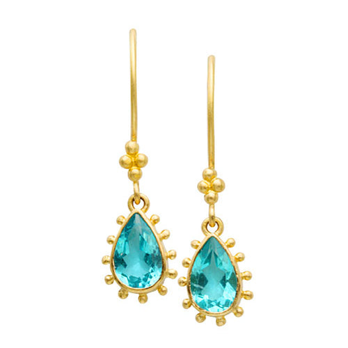 Apatite raindrop dangle earrings by Steven Battelle
