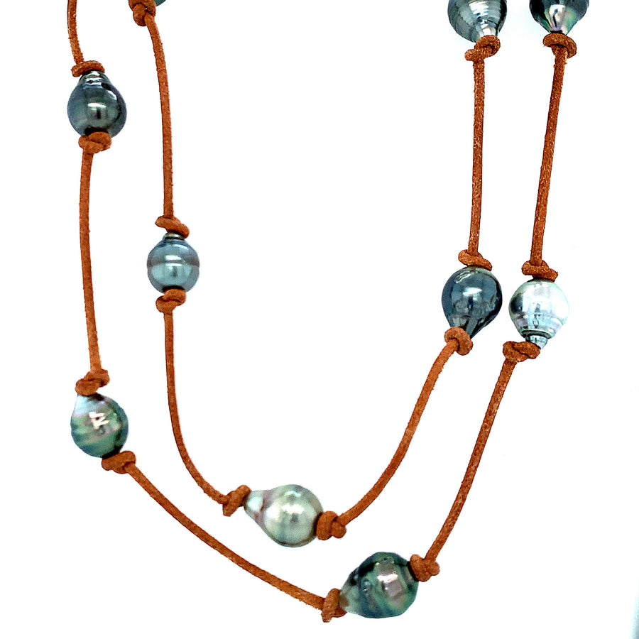 Long Hip Necklace with Tahitian Pearls