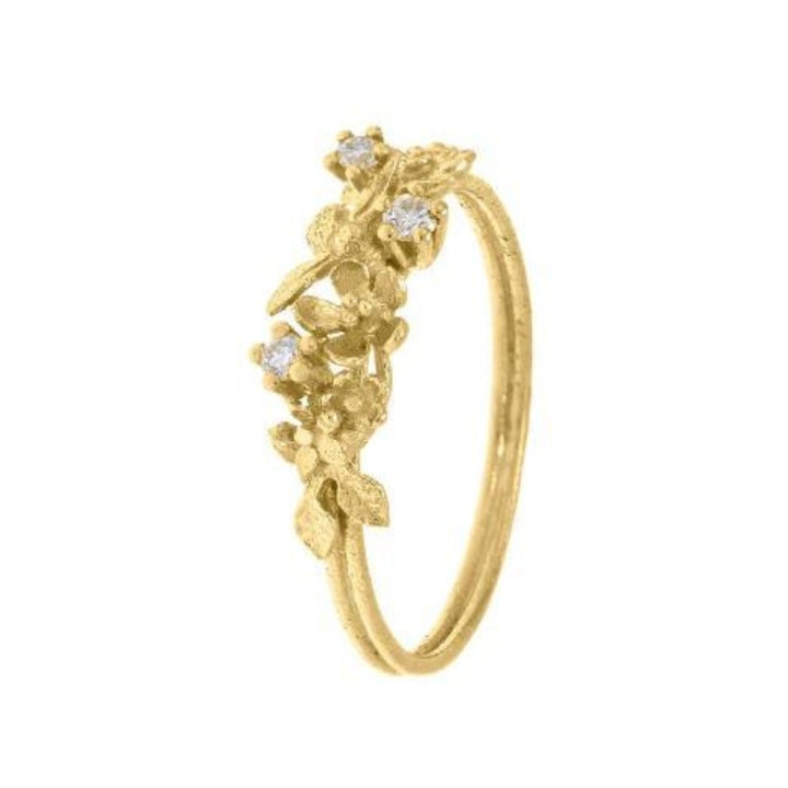 Gold beekeeper ring with flowers and diamonds by Alex Monroe