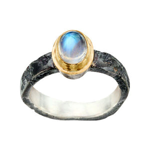 Blue moonstone with oxidized silver shank by Steven Battelle